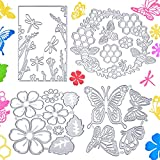 14 Pieces Spring Summer Metal Die Cuts, Embossing Stencil Templates Includes Butterfly Bee Dragonfly Cut Dies Flowers Leaves Die Cuts Honeycomb Cutting Dies for Spring Summer Scrapbooking Card Making