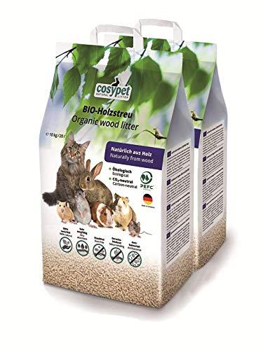 COSYPET Einstreu Pellets für Kaninchen, Hamster, Nager + Katzen [100% Bio + Natürlich] 40 l = 20 kg – saugstark + geruchsbindend – Nicht klumpende Holzstreu