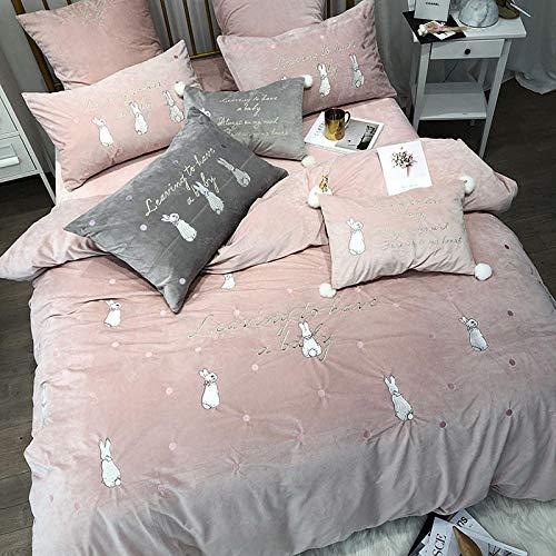 RESUXI Velvet Flannel Bettwäscheset,Winter Dicke Daunendecke, Prinzessin Koralle warme Bettwäsche doppelseitige Fleece Bettbezug-E_4 Stücke von 1,5 m Bett