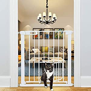 Narrow Baby Gate with Small Pet Door 24-26.7 Inch Wide, Walk Through Dog Gate for Stairway Doorway Halway – Safety Child Gates Auto Close for The House