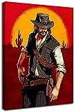 KINGAM Red Dead Redemption 2 - Póster enmarcado para videojuegos, diseño de John Marston, para decoración de habitación de niños y niñas, estirado y listo para colgar