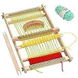 N\A Webstuhl Webrahmen Set für Kinder, Strickstuhl Schulwebrahmen Holzwebrahmen mit Garnknäuel, Kamm, Schiffchen und Einstellstange, Holzwebstuhl...