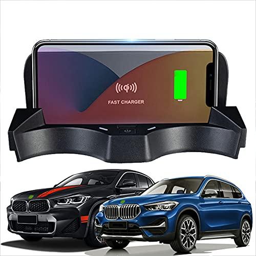 JUSTGJS Accesorios de Cargador de Coche inalámbrico Qi 15W MAX para BMW X1 / X2 2020-2021 Todos los Modelos, con Puertos USB de 18W para iPhone 12/11 / XS/X Samsung S20 / S10