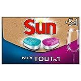 Sun - Tabletas para lavavajillas Mix Expert todo en 1, formato ecológico práctico, se envía directamente en su buzón de 54 lavados (lote de 27 tabletas Sun Expert y 27 tabletas Sun Tout-En-1)