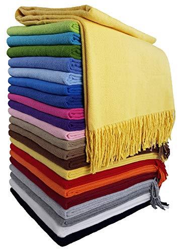 STTS International Baumwolldecke Wohndecke Kuscheldecke Tagesdecke 100prozent Baumwolle 140 x 170 cm sehr weiches Plaid Rio (Gelb)