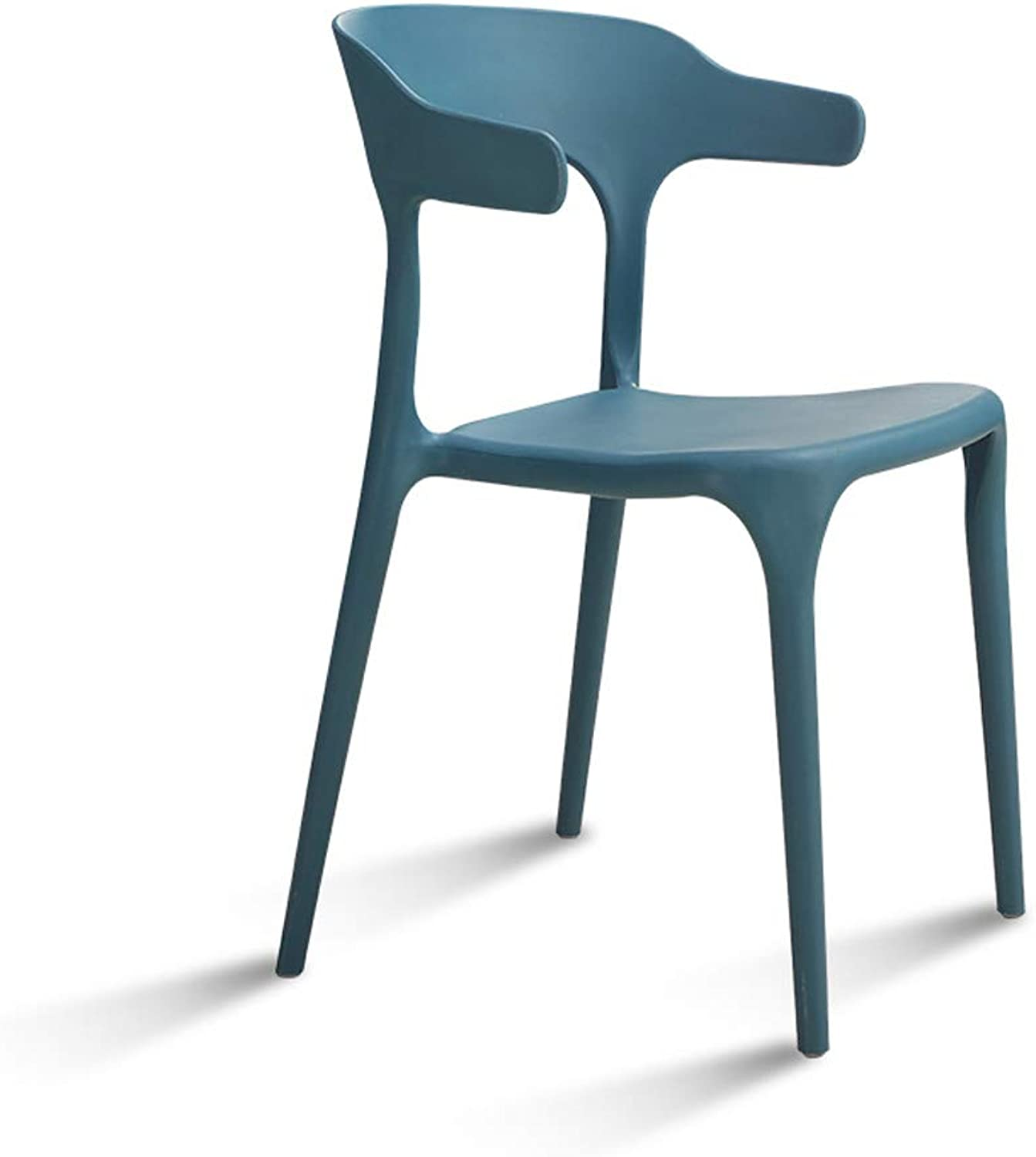 bluee Simple Plastic Dining Chair Adult Nordic Fashion Leisure Chair Restaurant Creative Horn Chair Home Back Stool