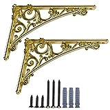 Y&J Escuadras para Estanterias Decorativas, Escuadra Estanteria Pared Metalica, Soporte para Estante Flotante, 2 Piezas Diseño Vintage, con Tornillos