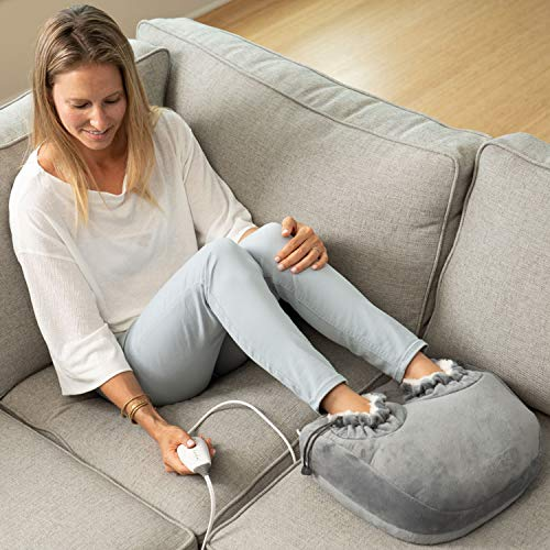 Pure Enrichment PureRelief Deluxe Foot Warmer - Super-Soft Sherpa-Lined, Fast-Heating Electric Boots with 4 Temperature Settings, Machine-Washable Fabric, Durable Anti-Slip Sole and Auto Shut-Off