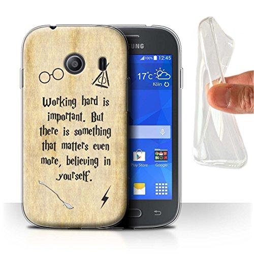 Hülle Für Samsung Galaxy Ace Style Schule der Magie Film Zitate Working Hard/Believe Design Transparent Dünn Weich Silikon Gel/TPU Schutz Handyhülle Hülle