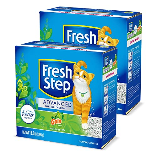 Fresh Step Advanced Cat Litter, Clumping Cat Litter, 99.9% Dust-Free, Gain Scent, 37 lbs Total ( 2 Pack of 18.5 lb Boxes)