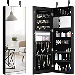 【Jewelry Cabinet with Larger Wider Mirror】Get all your jewelry and accessories organized and neat with this door/wall mount jewelry. It is specially designed for all your valuables, and keep your jewelry organized , then prevents them from getting ta...