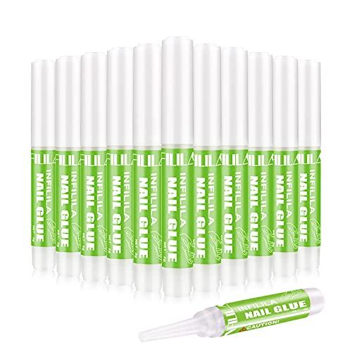 12PCS Nail Glue for Acrylic Nails Long Lasting Professional Nail Tips Glue INFILILA Nail Glue for Press On Nails Super Bond for Fake Nails False Nails Adhesive for Fake Nails Tips 0.07OZ/PCS (12PCS)