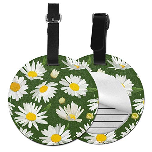 Slaytio Customizable White Daisies On A Green Background Round Luggage Label Suitcase, PVC Wristband Suitcase Label