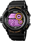 Mens Military Multifunction Digital Watches 50M Water Resistant Electronic 7 Color LED Backlight Black Sports Watch (Gold)