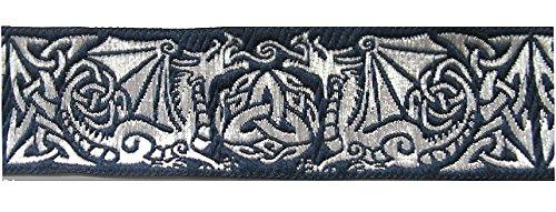 10m Keltische Borte Webband 35mm breit Farbe: Dunkelblau-Silber von 1A-Kurzwaren 35027-dblsi