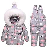 SANMIO - Tuta da neve per bambini, 2 pezzi, con cappuccio e pantaloni in pelliccia sintetica grigio. 12 mesi