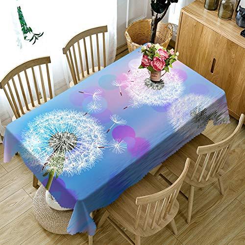 Bordsduk torkbar bordsduk polyester tvättbar, bordsduk vattentålig rektangulär bordsduk för kök picknick utomhus inomhus (maskros, 80 x 130 cm)