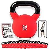 POWRX - Kettlebell Hierro Fundido 4-30 kg - Pesa Rusa con Revestimiento de Neopreno + PDF Workout (24 kg)