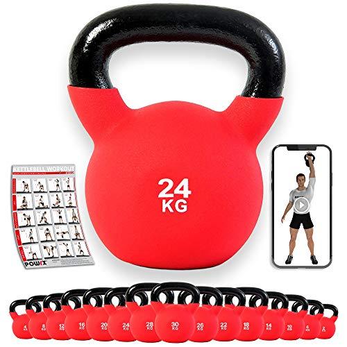POWRX Kettlebell ghisa 24 kg - Rivestimento in Neoprene + PDF Workout