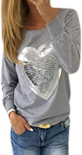 comprar comparacion Caramelo de Mujer Fluorescente Cuello Redondo Manga Larga Corazón Camiseta de Lentejuelas Casual Elegantes Blusa Delgado S...