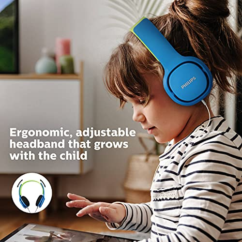 Philips Kinderkopfhörer SHK2000BL/00 Kinderkopfhörer On Ear (Lautstärkebegrenzung 85 db, Ergonomischer Bügel, 32-mm-Neodym-Lautsprechertreiber) Blau