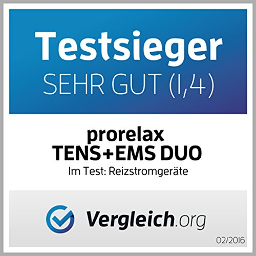 Prorelax TENS + EMS Duo. Elektrostimulationsgerät, 2 Therapien mit einem Gerät, Therapiemodus