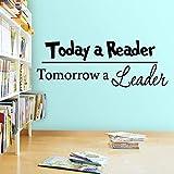 wZUN Cita para los lectores de Hoy, mañana es el líder Pegatinas de Pared de Vinilo Dormitorio Infantil Biblioteca librería educación 68X24cm