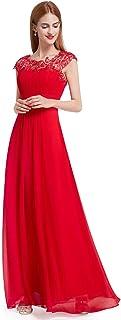 Vestidos de Fiesta Encaje Gasa Cuello Redondo Corte Imperio A-línea para Mujer 09993