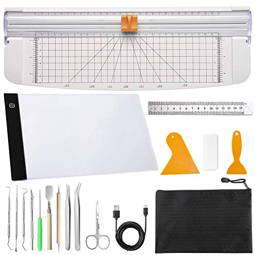 Dorhui 18 Pieces Essential Tools, Craft Weeding Tools with Paper Cutter for Scrapbooking with A4 Adjustable LED Light Pad Makes Brighter, Weeding Vinyl, Silhouettes, Cameos, Lettering