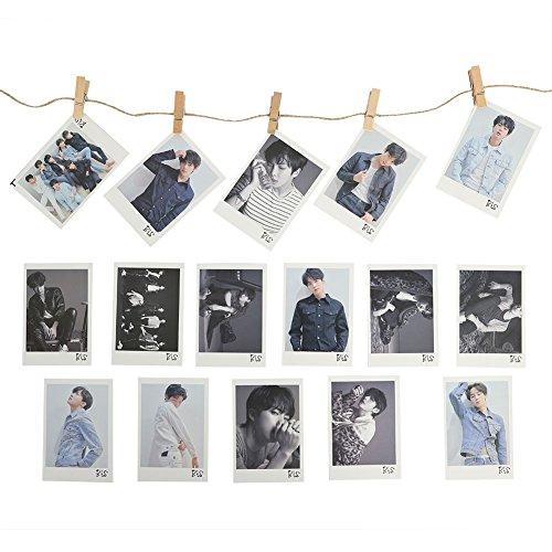 Yovvin BTS Banner KPOP Bangtan Jungen Love Yourself: Tear Fotokarten | 16 Stück Photocards + 5 Stück Holzclip + 1 Stück 2M Seil Sammlung für The Army (Style 01)