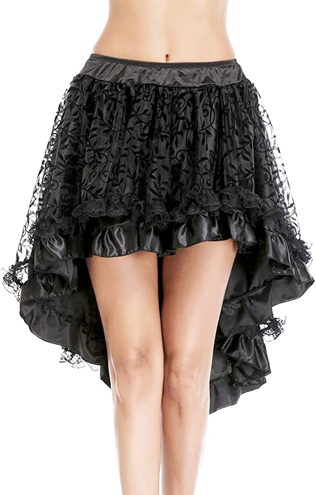 Grebrafan Steampunk Midi Skirt for Women Tulle Multi Layered High Low Outfits Party
