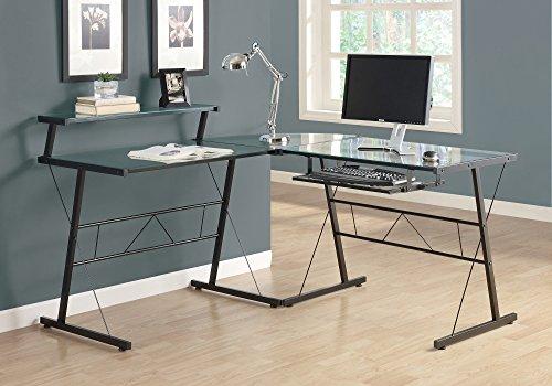 "Monarch Specialties Computer Desk L-Shaped Corner Workstation Tempered Glass Top with Shelf Keyboard Trey-Metal Legs, 57"" L, Black Frame"