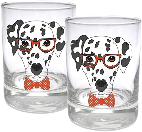 Circleware 15500 Dalmatian Dogs Double Old Fashioned Whiskey, Set of 2 Kitchen Drinking Glasses Glassware for Water, Juice, Beer and Best Bar Barrel Liquor Dining Decor Beverage Gifts, 11.25 oz, Red