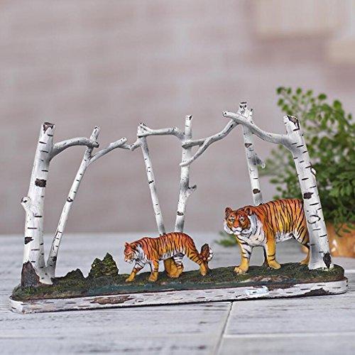 Vintage Primitive Bouleau Tiger Résine Sculpture Artisanat Décoration Salon TV Cabinet Bureau Creative Décorations Rollsnownow (taille : 30 * 4.5 * 16cm)