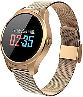 WJFQ Reloj Inteligente Reloj Inteligente de Deportes for Mujeres Inteligentes Pulsera Impermeable de la Aptitud Muñequera Tracker for Android iOS for Niños Hombres Mujeres (Color : Gold Steel Band)