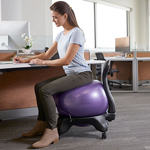 Gaiam Classic Balance Ball Chair – Exercise Stability Yoga Ball Premium Ergonomic Chair for Home and Office Desk with Air Pump, Exercise Guide and Satisfaction Guarantee, Charcoal