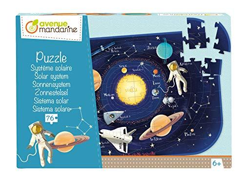 Avenue Mandarine PU017C - Puzzle da 76 pezzi con poster guida incluso, sistema solare