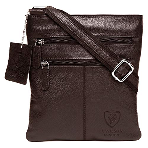 100% Pure Genuine Real Nappa Leather Handmade Mens Leather Everyday Crossover Shoulder Work iPad Messenger Bag (Brown)