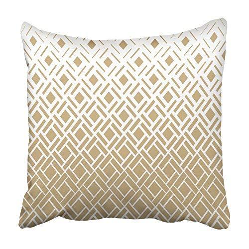 GFGKKGJFD313 Funda de almohada para decoración del hogar, 16 x 16 rombos cuadrados de textura dorada y blanca, 40 x 40 cm, fundas de almohada cuadradas decorativas para sofá, accesorios para el hogar