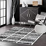 nuLOOM Orchid Faded Striped Shag Area Rug, 4' x 6', Black And White