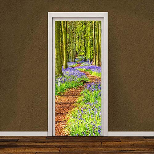 Forest Rainbow Door Sticker 3D Vinyl Mural Self Adhesive Removable Wallpaper Decal Interior Doors Bedroom Living Room Decor for Home 90 * 200Cm