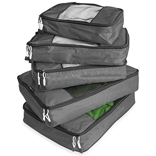 TravelWise Luggage Packing Organization Cubes 5 Pack, Silver
