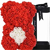 Rose Teddy Bear women gifts for birthday gifts for mom girlfriend gifts for her Rose Bear Teddy Bear Rose Flower Gifts for Teen Girls Mothers Gifts Anniversary Valentine Day - Rose Bear with Box (red)