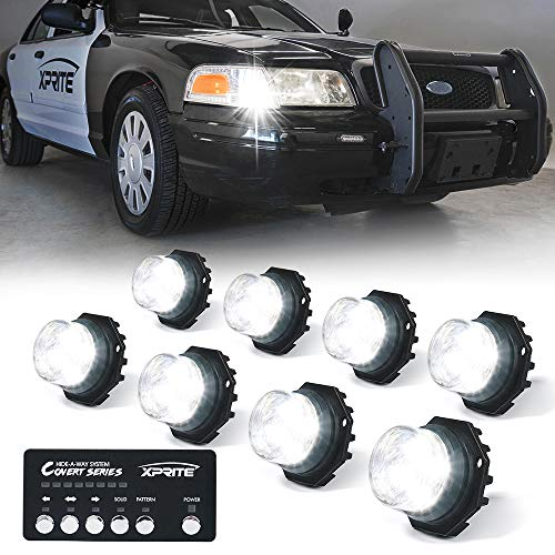Xprite 8 Series LED Hideaway Strobe Lights Kit 20 Flash Patterns Hazard Warning Light for Trucks, Police Cars, Emergency Vehicles