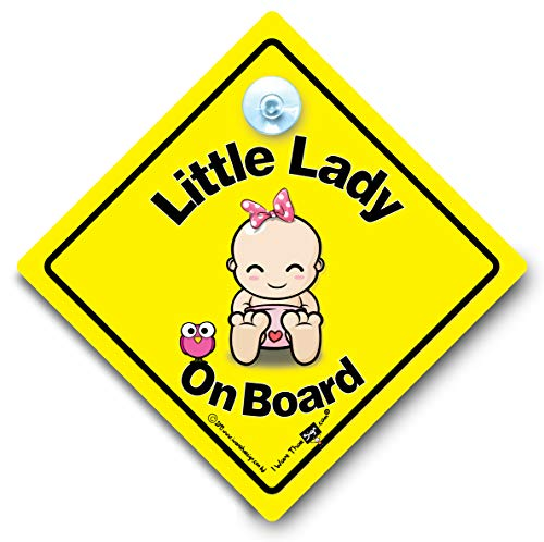 Little Lady On Board Car Sign, Baby on Board Sign Style ventosa Baby Sign