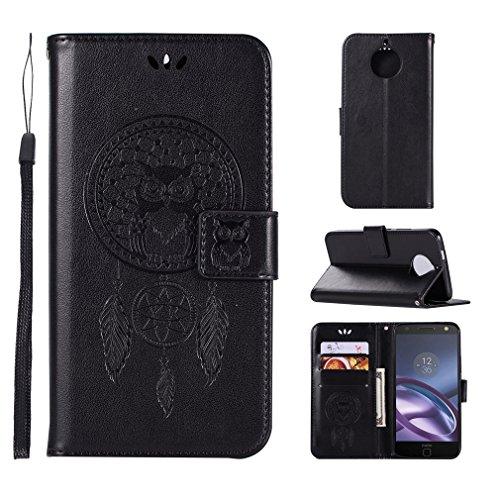 LMAZWUFULM Hülle für Motorola Moto E4 Plus (5,5 Zoll) PU Leder Magnetverschluss Brieftasche Lederhülle Eule & Traumfänger Muster Standfunktion Ledertasche Flip Cover für Motorola E4 Plus Schwarz