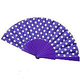ASVNDD 9 Colores Elegante plástico español Manos Ventiladores japoneses Lunares Mano Plegable Ventilador Regalos Bailando Ventilador decoración de la Boda (Color : 01)