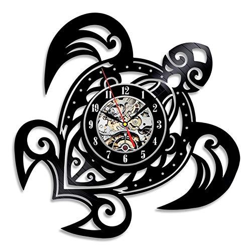 JXWH Orologio da Parete Decorazione per la casa con Adesivo Tartaruga dal Design Moderno Orologio da Parete in Vinile Muto
