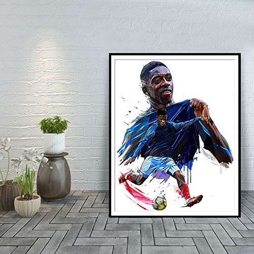 POTYX Futbolista, Barcelona, póster de decoración del hogar-60x80cm_ Enmarcado