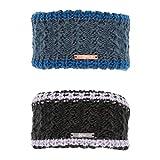 Covalliero Kerbl Damen Stirnband, Universalgröße, trendiges Strickmuster, Fleece Innenseite (Schwarz)